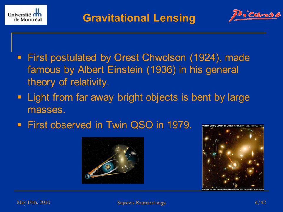 May 19th, 2010 Sujeewa Kumaratunga 5/42 Galactic Rotational Curve Anomalies Dark Matter in the outskirts of galaxies.
