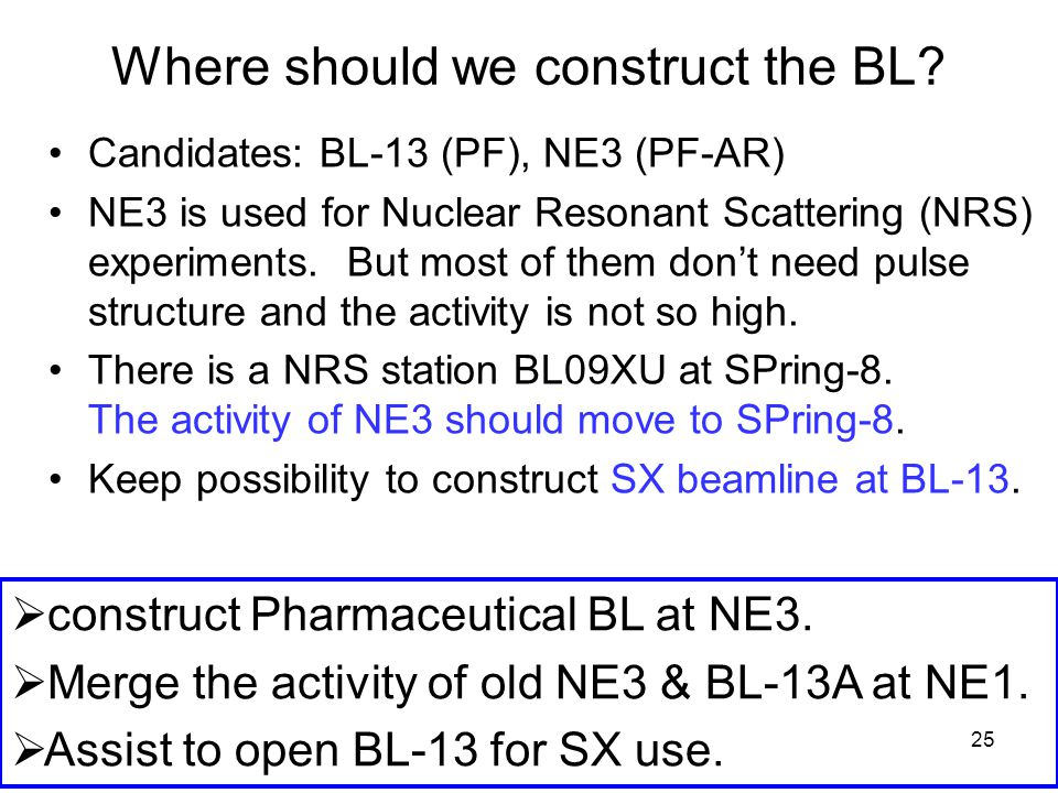 25 Where should we construct the BL? Candidates: BL-13 (PF), NE3 (PF-AR) NE3 is used for Nuclear Resonant Scattering (NRS) experiments. But most of th