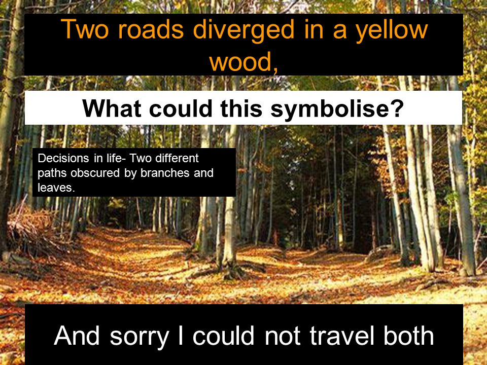 Two roads diverged in a yellow wood, And sorry I could not travel both Two roads diverged in a yellow wood, What could this symbolise? Decisions in li