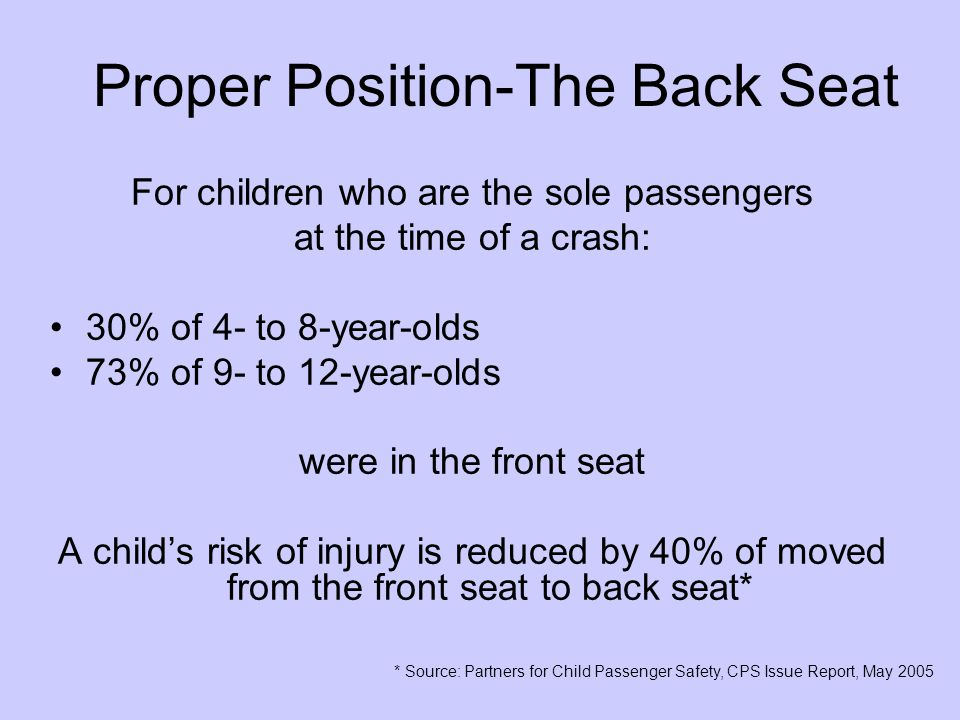 Proper Position-The Back Seat For children who are the sole passengers at the time of a crash: 30% of 4- to 8-year-olds 73% of 9- to 12-year-olds were in the front seat A child's risk of injury is reduced by 40% of moved from the front seat to back seat* * Source: Partners for Child Passenger Safety, CPS Issue Report, May 2005