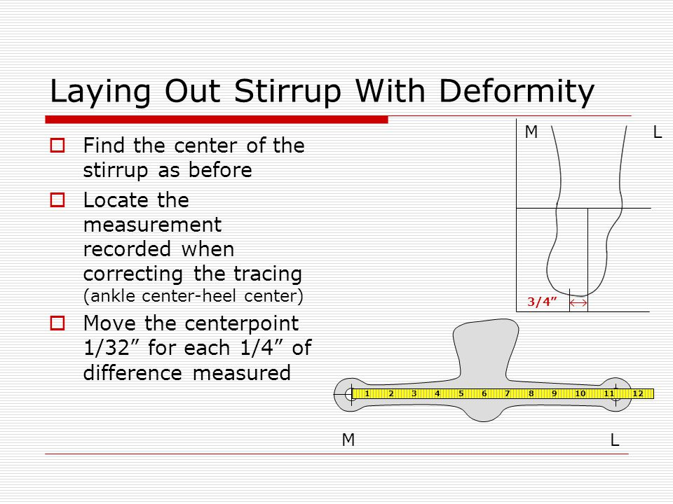 Laying Out Stirrup With Deformity  Find the center of the stirrup as before  Locate the measurement recorded when correcting the tracing (ankle center-heel center)  Move the centerpoint 1/32 for each 1/4 of difference measured LM 3/4 ML 1 2 3 4 5 6 7 8 9 10 11 12