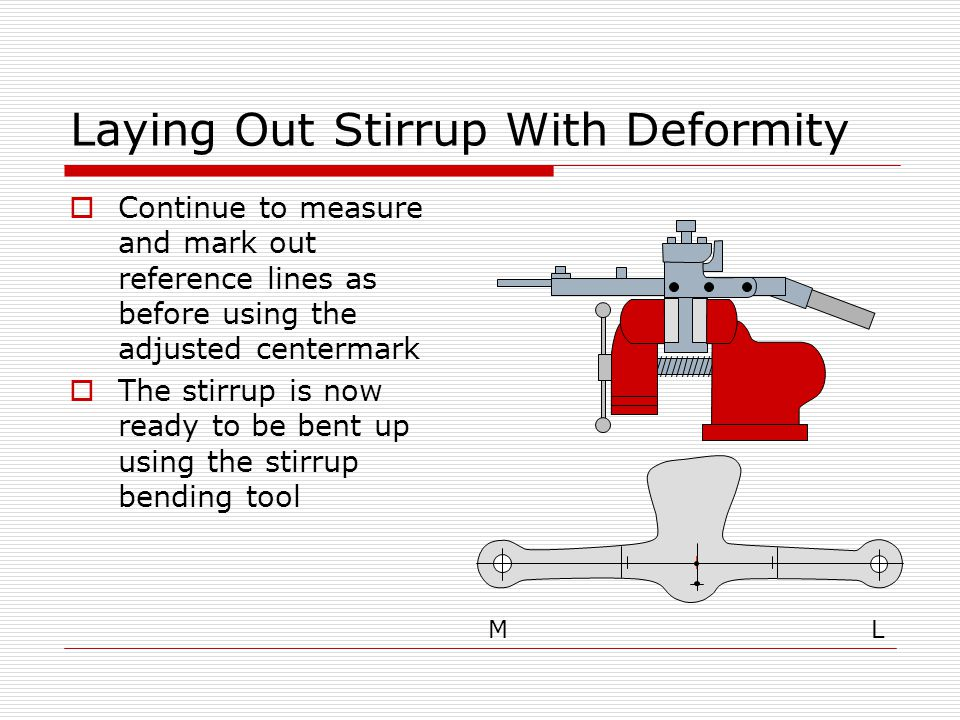 Laying Out Stirrup With Deformity  Continue to measure and mark out reference lines as before using the adjusted centermark  The stirrup is now ready to be bent up using the stirrup bending tool ML