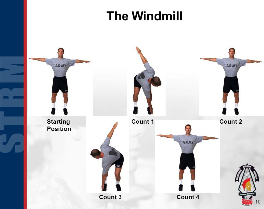 10 The Windmill Starting Position Count 1Count 2 Count 3Count 4