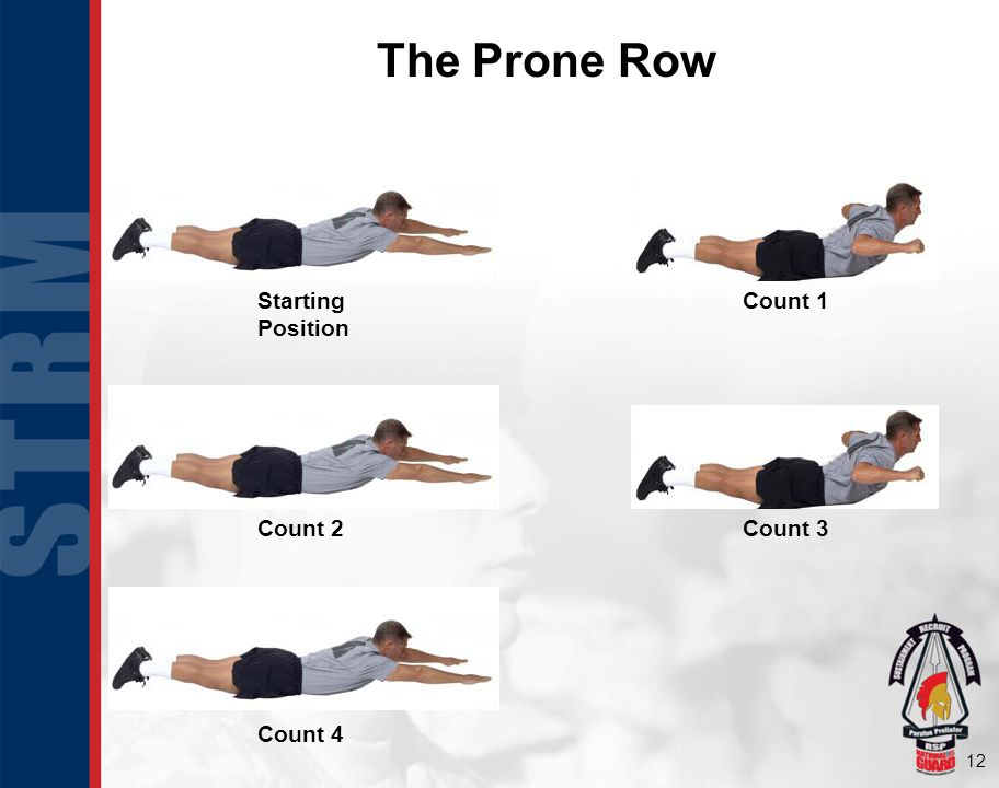 12 The Prone Row Starting Position Count 1 Count 2Count 3 Count 4