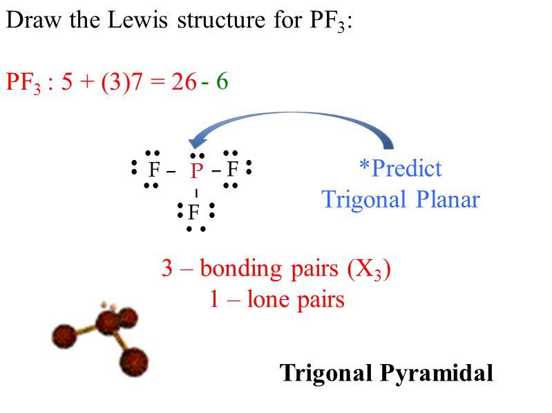 Draw the Lewis structure for PF 3 : PF 3 : 5 + (3)7 = 26           - 6 – F F – P F –      *Predict Trigonal Planar 3 – bonding pairs (X 3 ) 1 – lone pairs Trigonal Pyramidal 