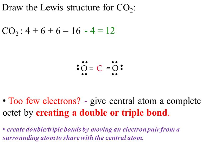 Draw the Lewis structure for CO 2 : CO 2 : = 16 C – O O – - 4 = 12           – – create double/triple bonds by moving an electron pair from a surrounding atom to share with the central atom.