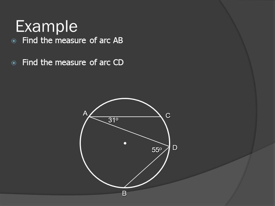 Example  Find the measure of arc AB  Find the measure of arc CD 55 o A C B 31 o D