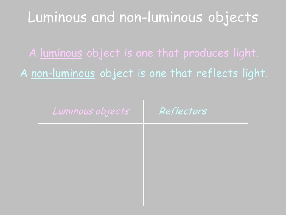 Luminous and non-luminous objects A luminous object is one that produces light. A non-luminous object is one that reflects light. Luminous objectsRefl