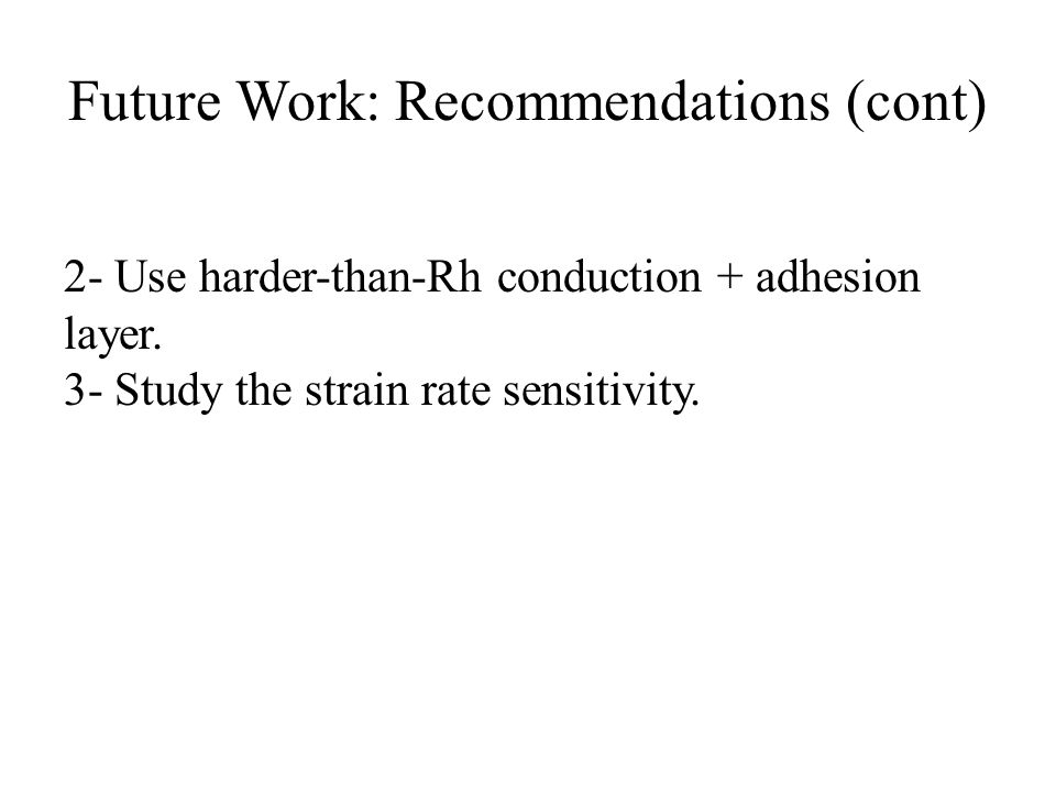 Future Work: Recommendations (cont) 2- Use harder-than-Rh conduction + adhesion layer.
