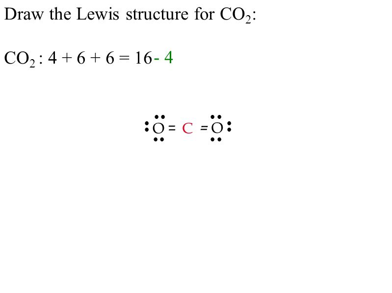 Draw the Lewis structure for CO 2 : CO 2 : 4 + 6 + 6 = 16 C – O O – - 4           – –