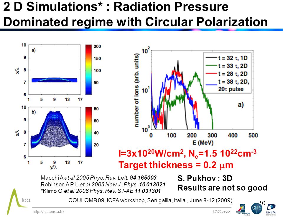 10 2 D Simulations* : Radiation Pressure Dominated regime with Circular Polarization Macchi A et al 2005 Phys.