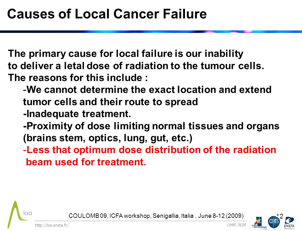 12 Causes of Local Cancer Failure The primary cause for local failure is our inability to deliver a letal dose of radiation to the tumour cells.