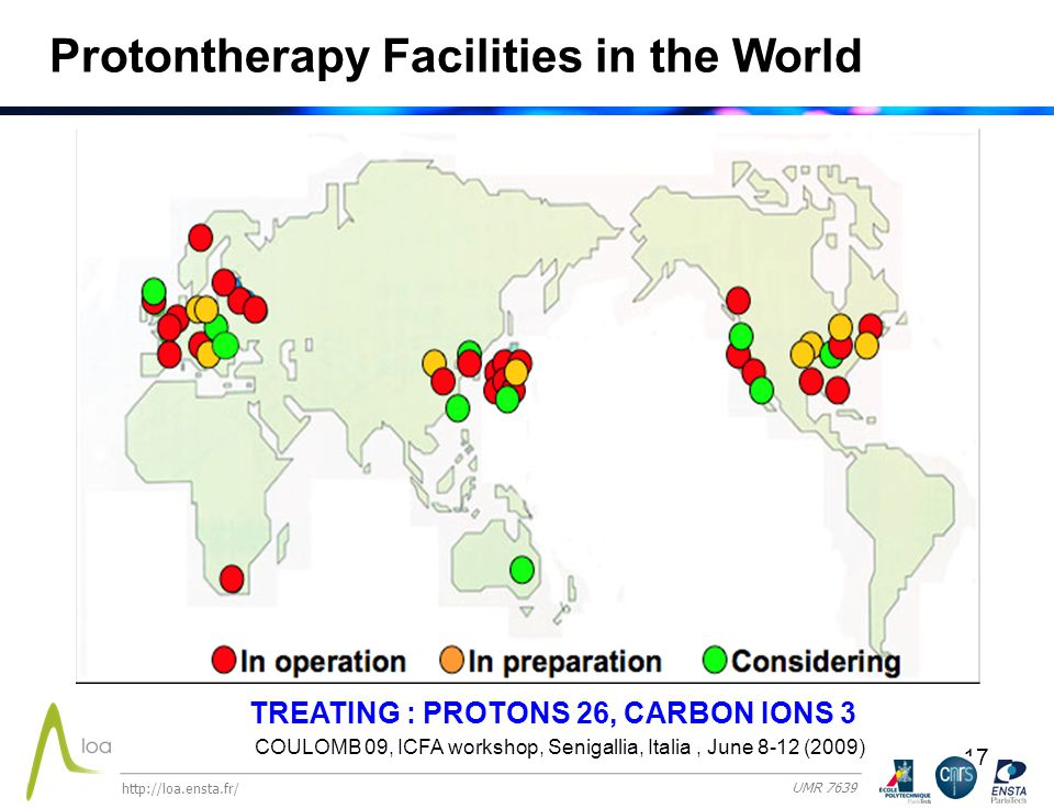 17 Protontherapy Facilities in the World TREATING : PROTONS 26, CARBON IONS 3 COULOMB 09, ICFA workshop, Senigallia, Italia, June 8-12 (2009) http://loa.ensta.fr/ UMR 7639