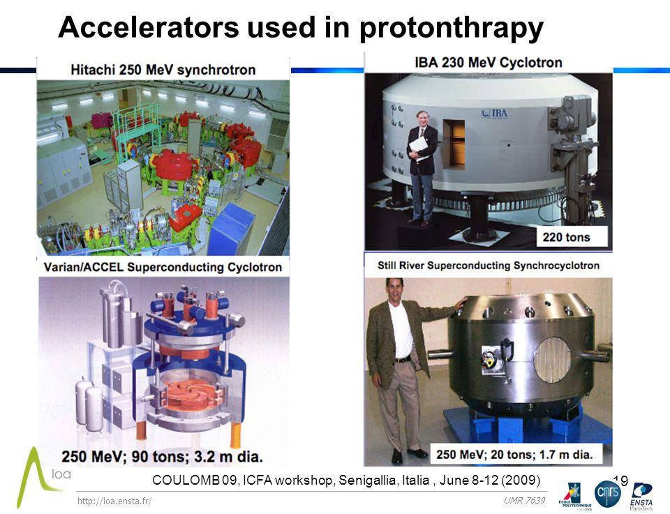 19 Accelerators used in protonthrapy COULOMB 09, ICFA workshop, Senigallia, Italia, June 8-12 (2009) http://loa.ensta.fr/ UMR 7639