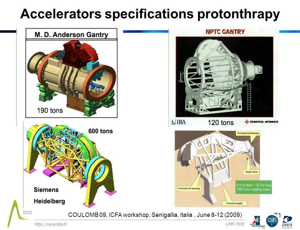21 Accelerators specifications protonthrapy COULOMB 09, ICFA workshop, Senigallia, Italia, June 8-12 (2009) http://loa.ensta.fr/ UMR 7639