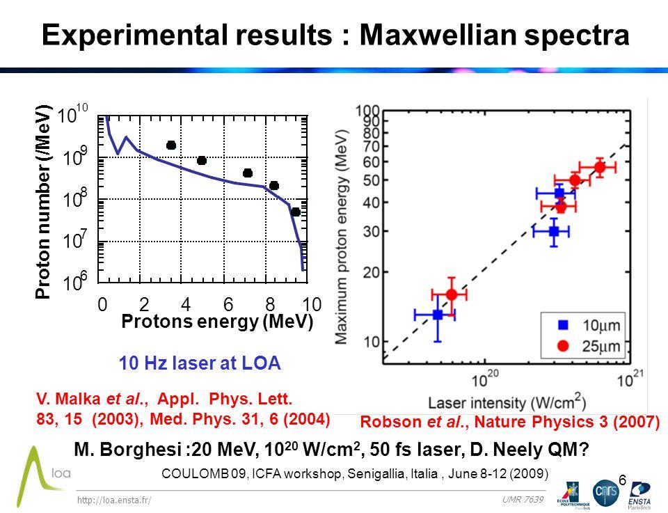 6 Experimental results : Maxwellian spectra Robson et al., Nature Physics 3 (2007) V.
