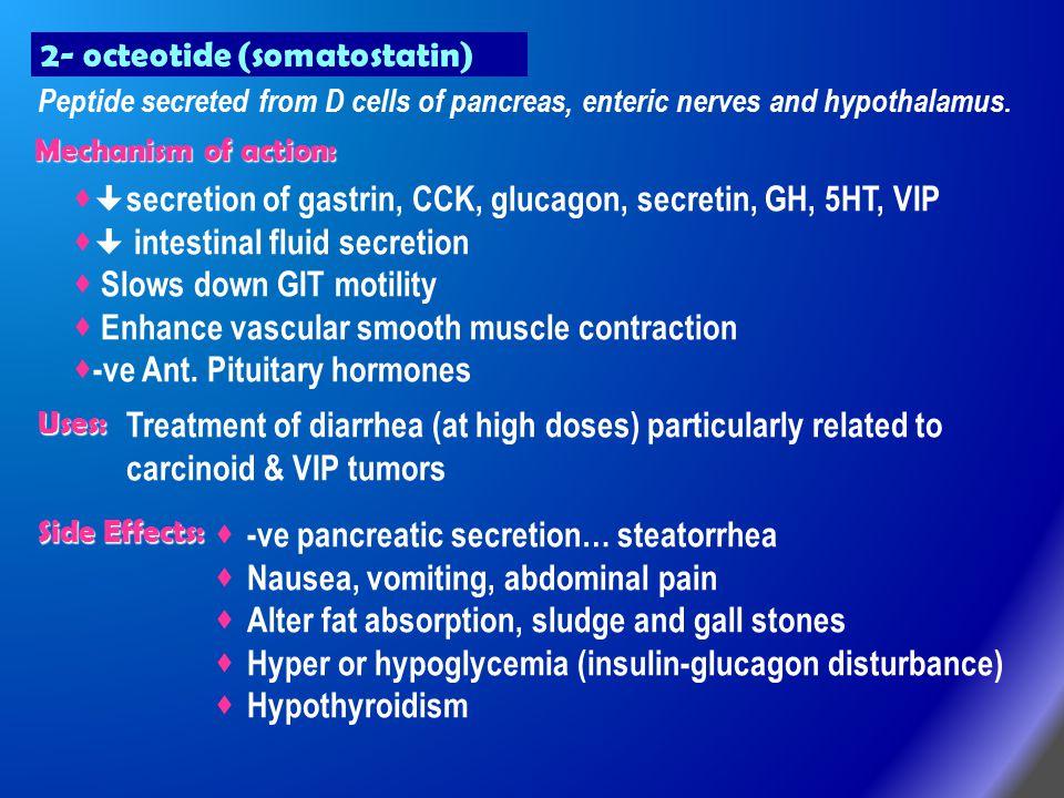 2- octeotide (somatostatin) Peptide secreted from D cells of pancreas, enteric nerves and hypothalamus.   secretion of gastrin, CCK, glucagon, secre