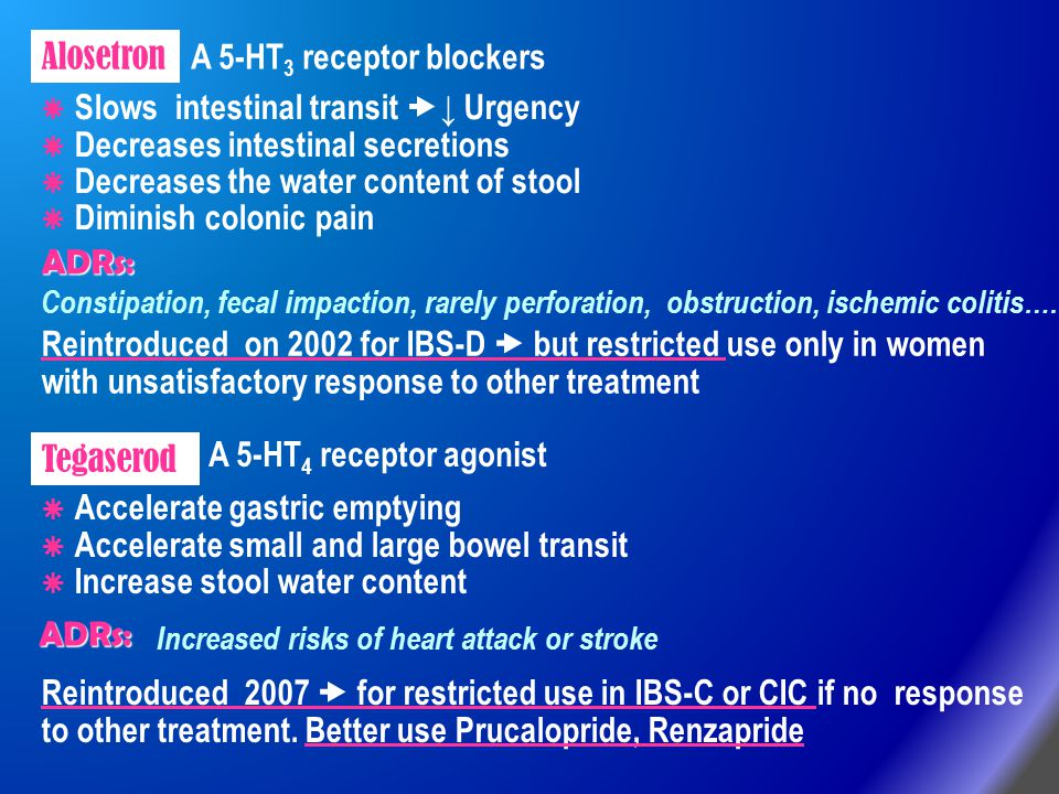 Alosetron Tegaserod Reintroduced 2007  for restricted use in IBS-C or CIC if no response to other treatment. Better use Prucalopride, Renzapride Rein