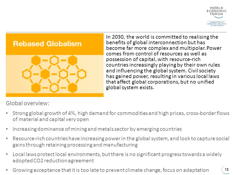 13 Global overview: Strong global growth of 4%, high demand for commodities and high prices, cross-border flows of material and capital very open Increasing dominance of mining and metals sector by emerging countries Resource-rich countries have increasing power in the global system, and look to capture social gains through retaining processing and manufacturing Local laws protect local environments, but there is no significant progress towards a widely adopted CO2 reduction agreement Growing acceptance that it is too late to prevent climate change, focus on adaptation In 2030, the world is committed to realising the benefits of global interconnection but has become far more complex and multipolar.