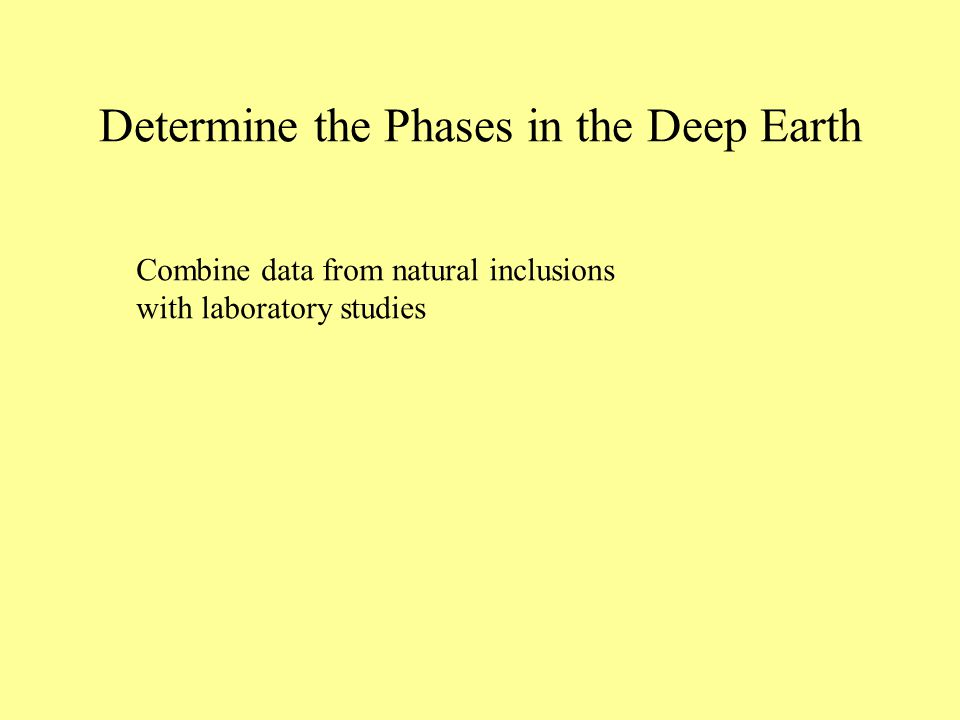Determine the Phases in the Deep Earth Combine data from natural inclusions with laboratory studies