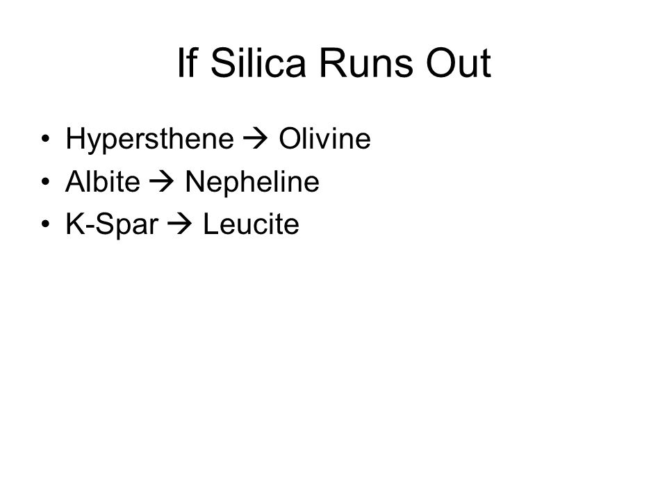 If Silica Runs Out Hypersthene  Olivine Albite  Nepheline K-Spar  Leucite