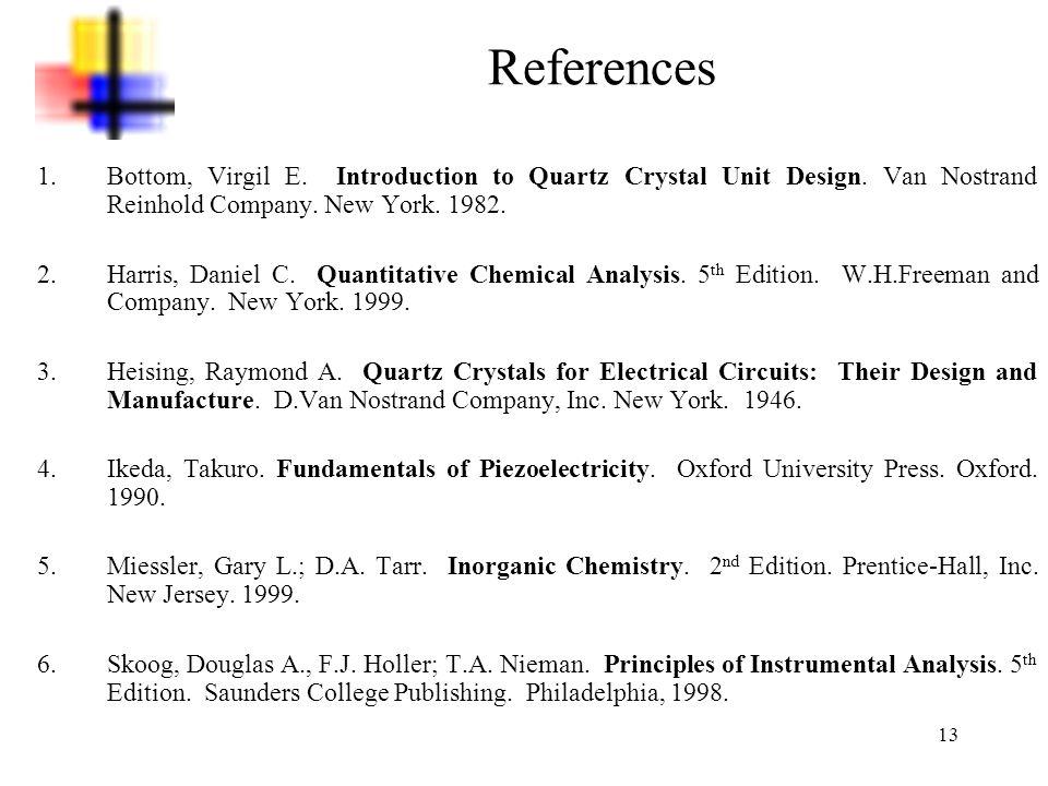 13 References 1.Bottom, Virgil E. Introduction to Quartz Crystal Unit Design. Van Nostrand Reinhold Company. New York. 1982. 2.Harris, Daniel C. Quant