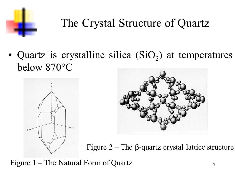 5 The Crystal Structure of Quartz Quartz is crystalline silica (SiO 2 ) at temperatures below 870°C Figure 1 – The Natural Form of Quartz Figure 2 – T