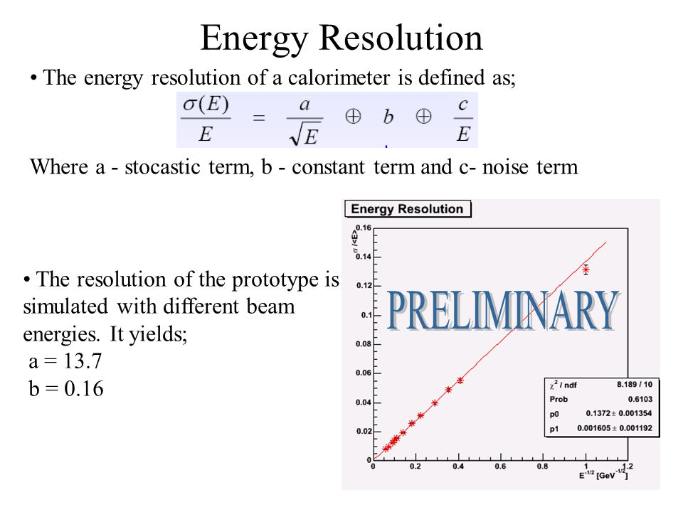 Energy Resolution The energy resolution of a calorimeter is defined as; Where a - stocastic term, b - constant term and c- noise term The resolution o
