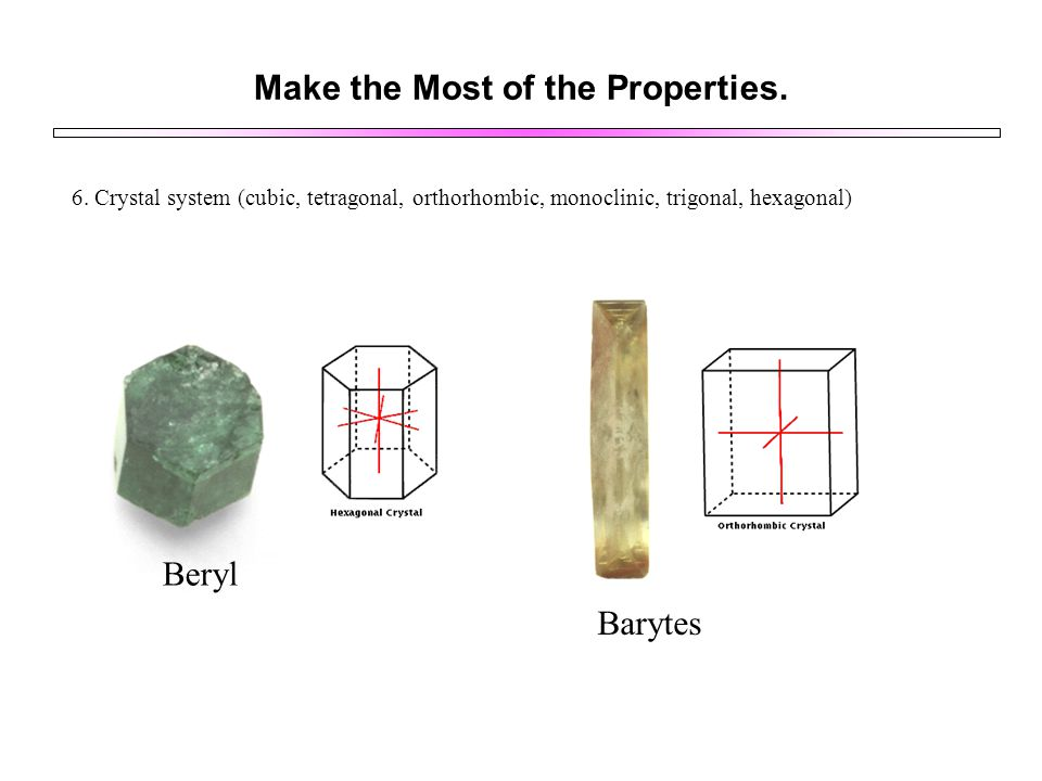 Make the Most of the Properties. 6. Crystal system (cubic, tetragonal, orthorhombic, monoclinic, trigonal, hexagonal) Beryl Barytes