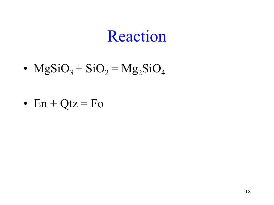 18 Reaction MgSiO 3 + SiO 2 = Mg 2 SiO 4 En + Qtz = Fo