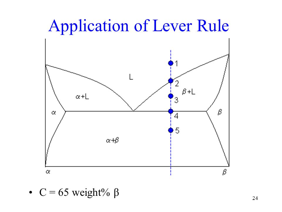 24 Application of Lever Rule C = 65 weight% β