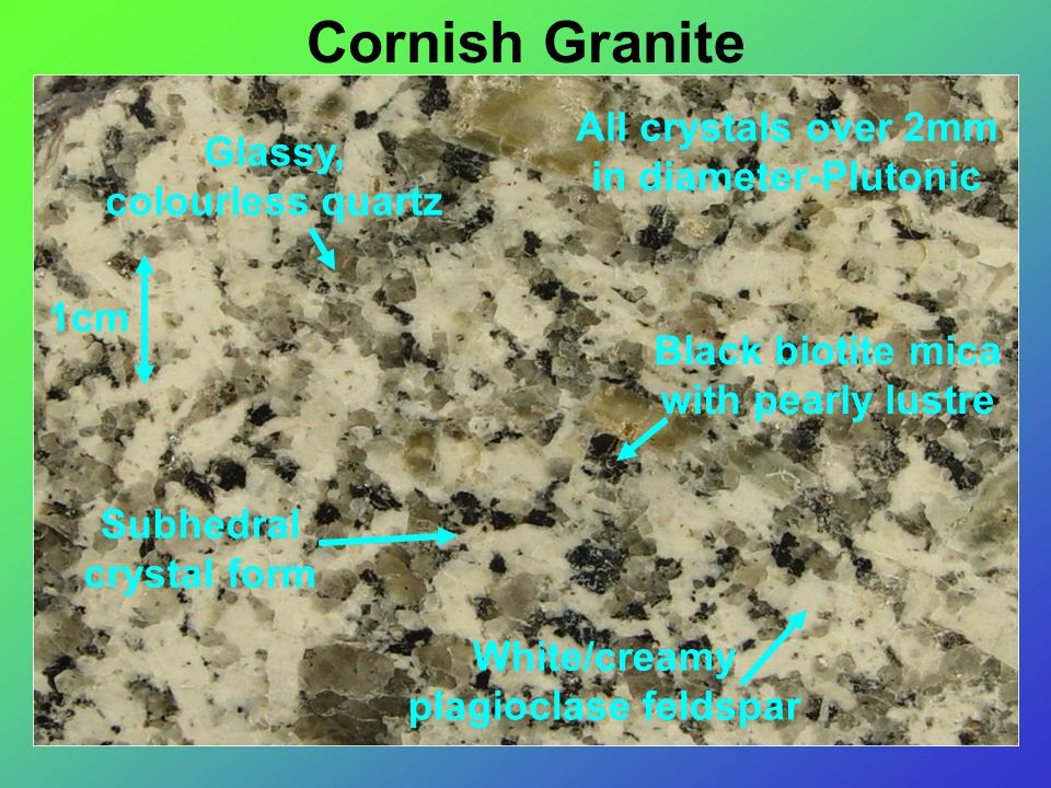 1cm All crystals over 2mm in diameter-Plutonic Glassy, colourless quartz Black biotite mica with pearly lustre White/creamy plagioclase feldspar Subhedral crystal form Cornish Granite