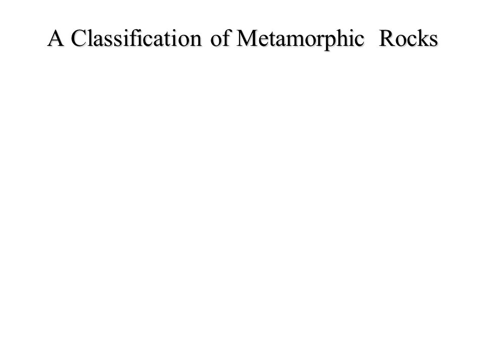 A Classification of Metamorphic Rocks