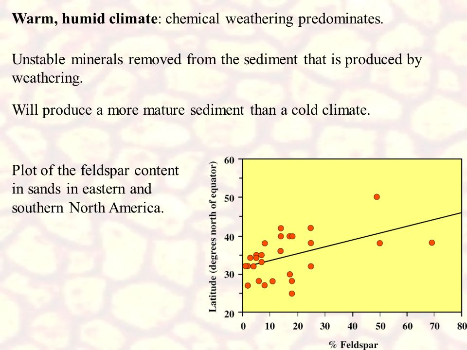 Warm, humid climate: chemical weathering predominates. Unstable minerals removed from the sediment that is produced by weathering. Will produce a more