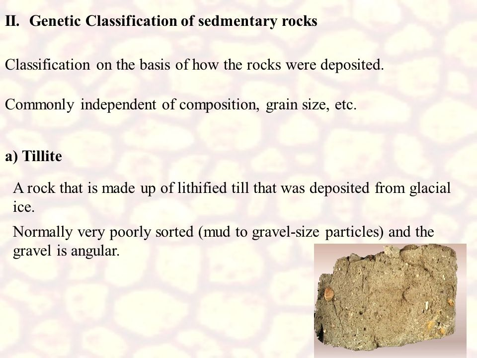 II. Genetic Classification of sedmentary rocks Classification on the basis of how the rocks were deposited. Commonly independent of composition, grain