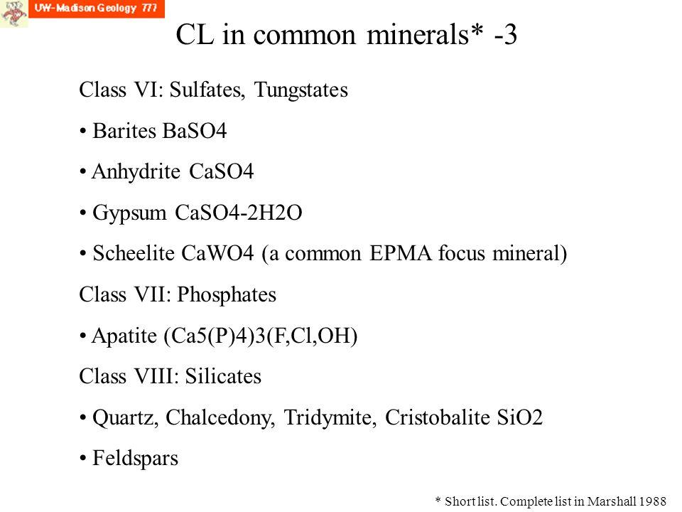 CL Class VI: Sulfates, Tungstates Barites BaSO4 Anhydrite CaSO4 Gypsum CaSO4-2H2O Scheelite CaWO4 (a common EPMA focus mineral) Class VII: Phosphates