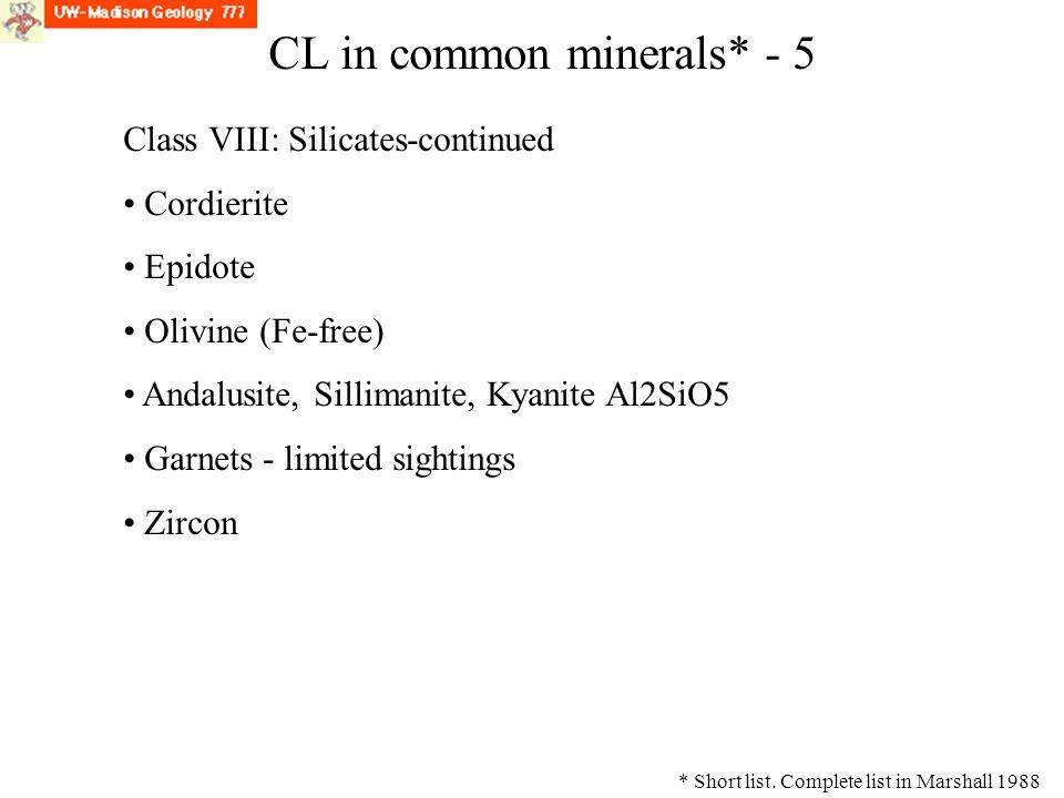 CL Class VIII: Silicates-continued Cordierite Epidote Olivine (Fe-free) Andalusite, Sillimanite, Kyanite Al2SiO5 Garnets - limited sightings Zircon CL