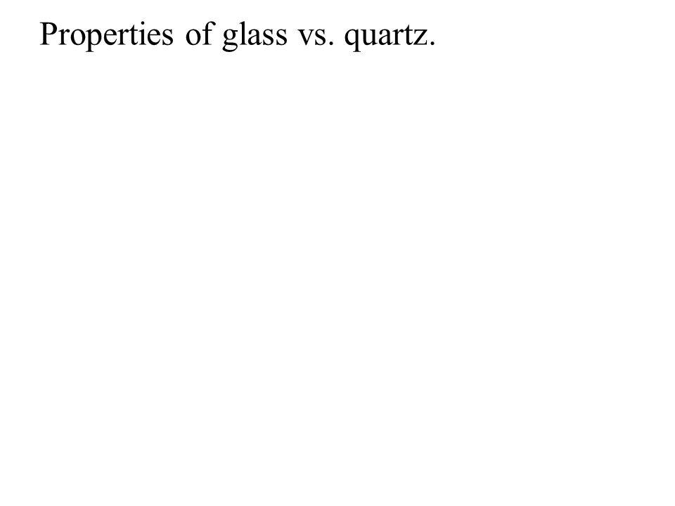 Properties of glass vs. quartz.