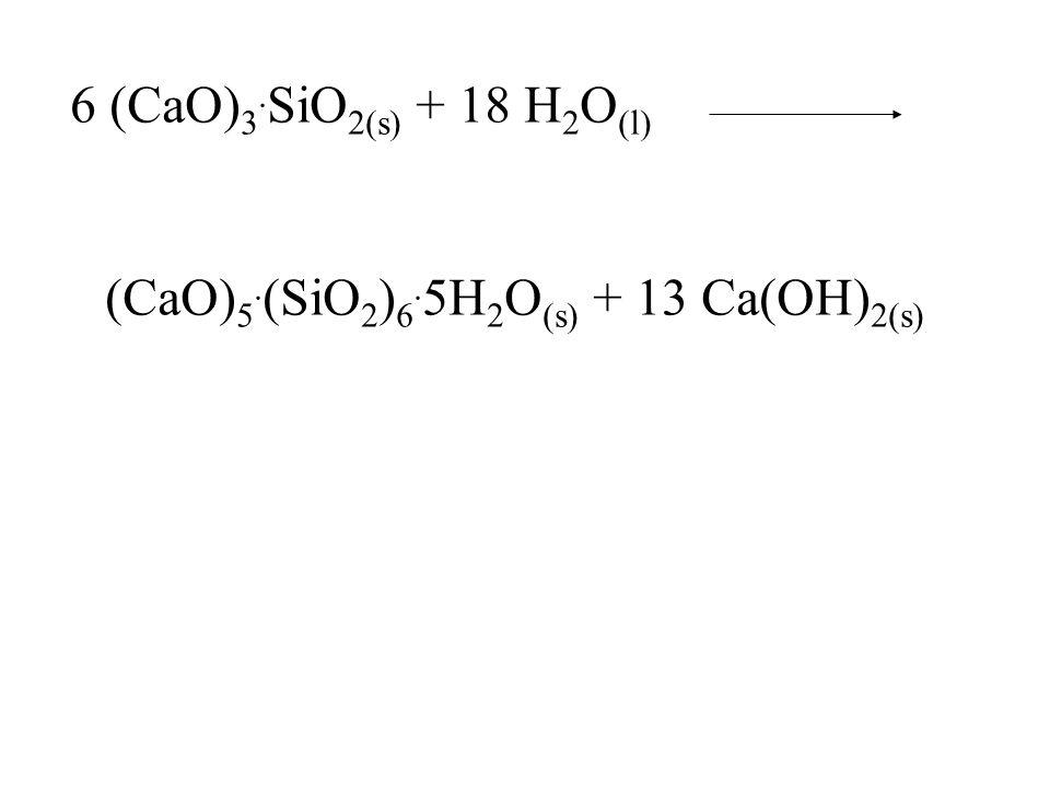 6 (CaO) 3. SiO 2(s) + 18 H 2 O (l) (CaO) 5. (SiO 2 ) 6. 5H 2 O (s) + 13 Ca(OH) 2(s)