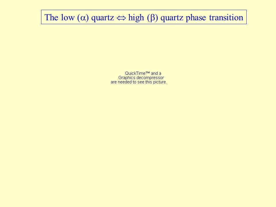 The low (  ) quartz  high (  ) quartz phase transition