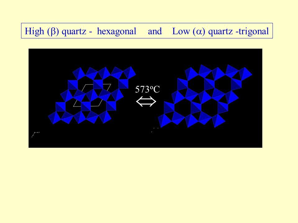 High (  ) quartz - hexagonal and Low (  ) quartz -trigonal  573 o C
