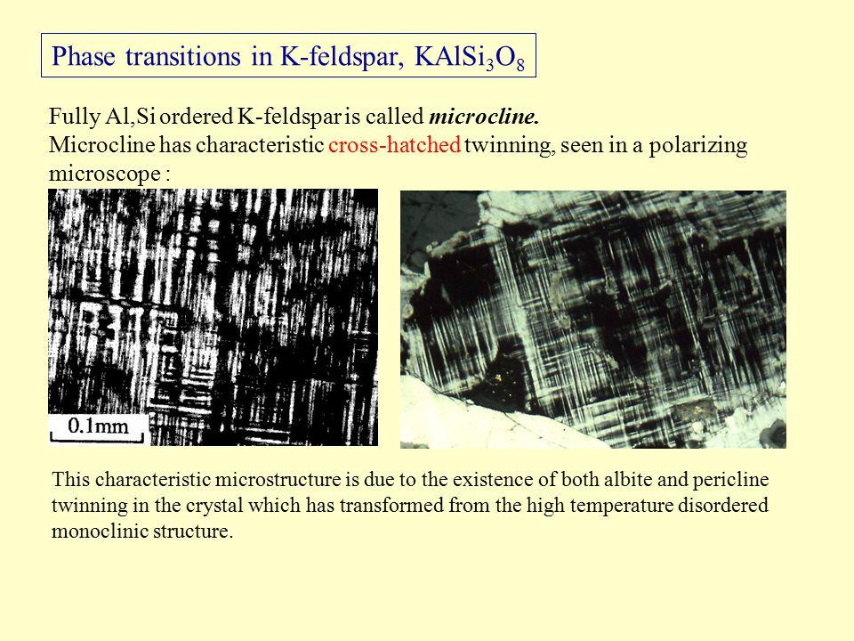 Phase transitions in K-feldspar, KAlSi 3 O 8 Fully Al,Si ordered K-feldspar is called microcline.