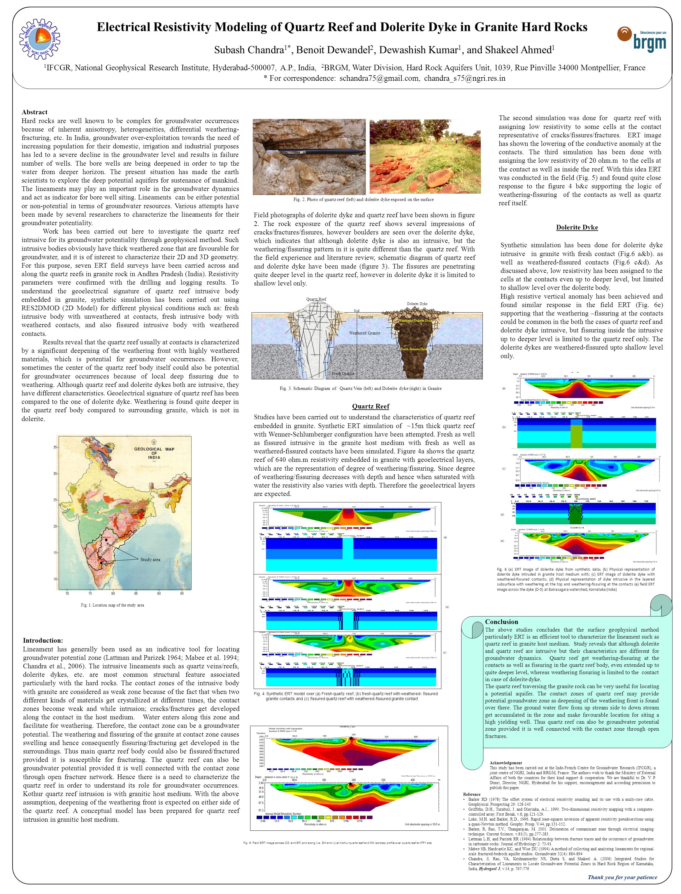 Electrical Resistivity Modeling of Quartz Reef and Dolerite Dyke in Granite Hard Rocks Subash Chandra 1*, Benoit Dewandel 2, Dewashish Kumar 1, and Sh