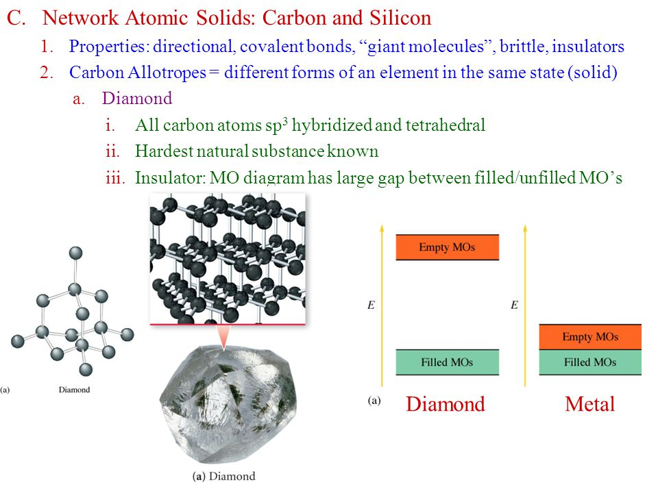 """C.Network Atomic Solids: Carbon and Silicon 1.Properties: directional, covalent bonds, """"giant molecules"""", brittle, insulators 2.Carbon Allotropes = di"""