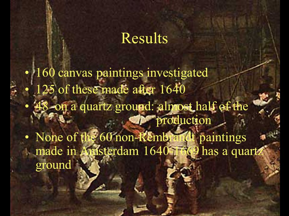 Results 160 canvas paintings investigated 125 of these made after 1640 48 on a quartz ground: almost half of the production None of the 60 non-Rembrandt paintings made in Amsterdam 1640-1669 has a quartz ground