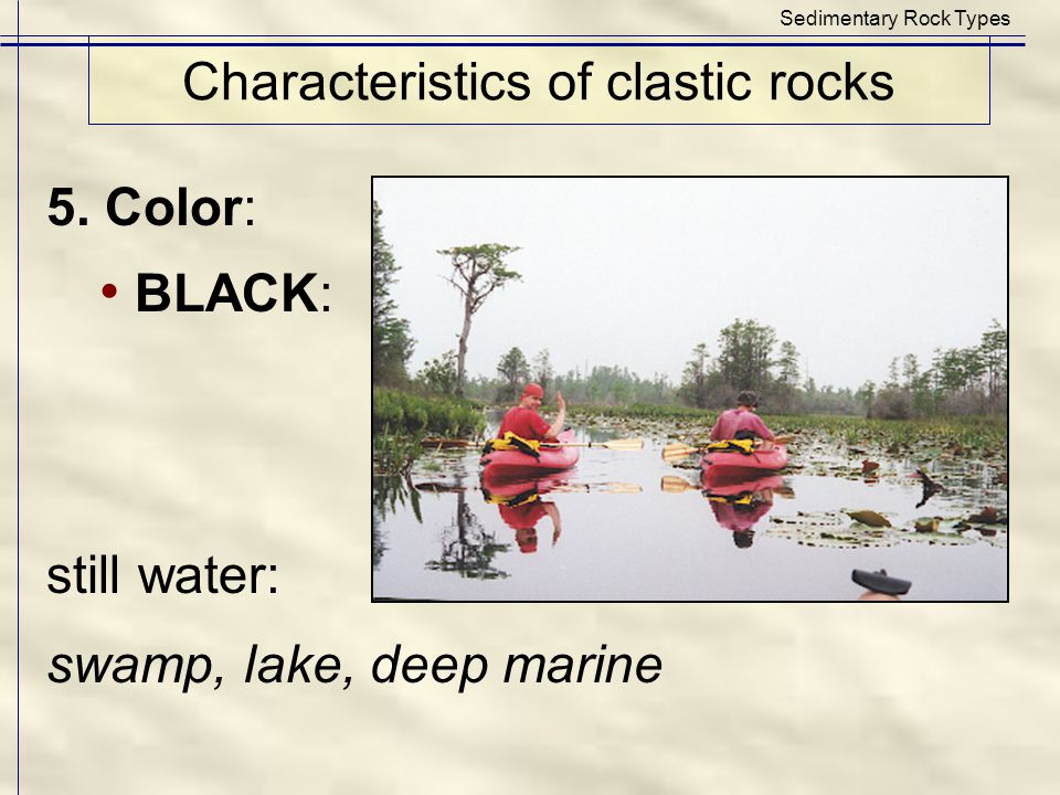 Characteristics of clastic rocks Sedimentary Rock Types 5. Color: BLACK: still water: swamp, lake, deep marine