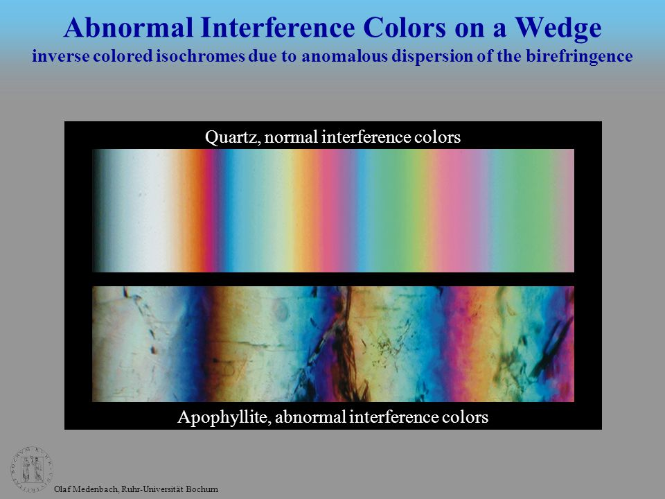 Olaf Medenbach, Ruhr-Universität Bochum Calcite, normal colors Benzil-l, abnormal colors and, in addition, optical activity Abnormal Interference Figures inverse colored isochromes due to anomalous dispersion of the birefringence