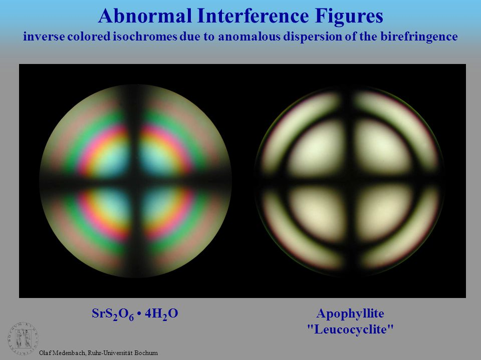 Olaf Medenbach, Ruhr-Universität Bochum SrS 2 O 6 4H 2 O Apophyllite Leucocyclite Abnormal Interference Figures inverse colored isochromes due to anomalous dispersion of the birefringence
