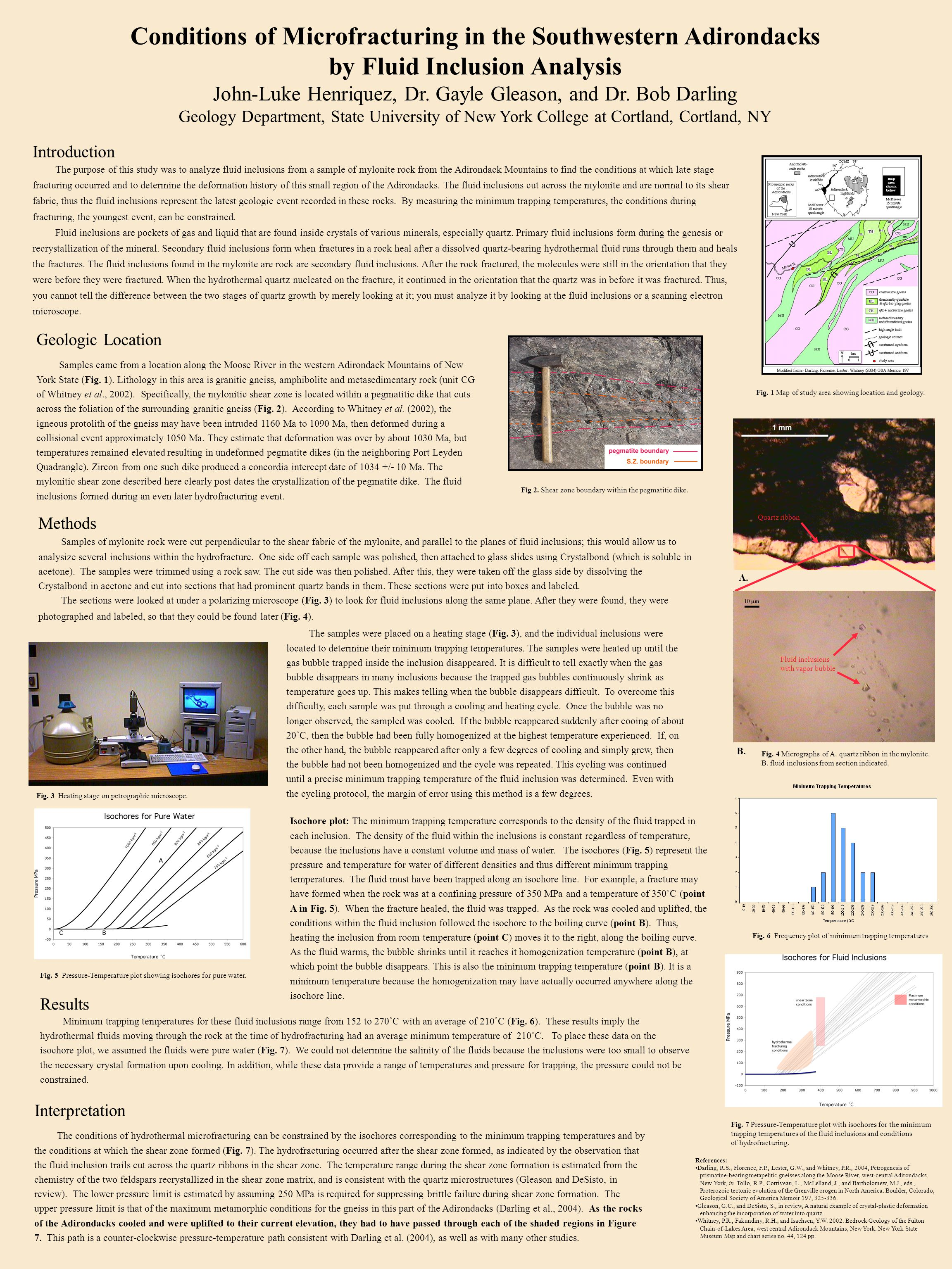 Conditions of Microfracturing in the Southwestern Adirondacks by Fluid Inclusion Analysis John-Luke Henriquez, Dr.