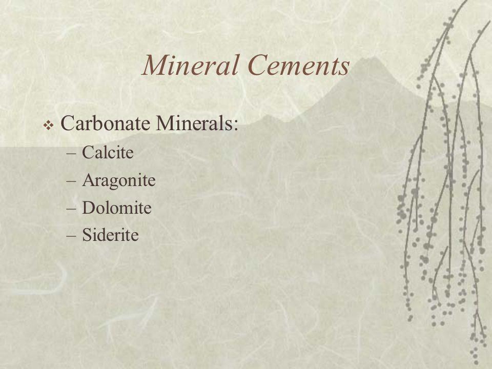 Mineral Cements  Carbonate Minerals: –Calcite –Aragonite –Dolomite –Siderite
